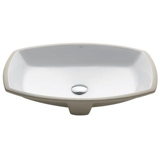 Kraus Elavo White Ceramic Flared Rectangular Undermount Bathroom Sink w/ Overflow