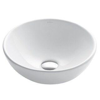 Kraus KCV-341 Elavo 13-4/5 Inch Small Round Vessel Porcelain Ceramic Vitreous Bathroom Sink in White