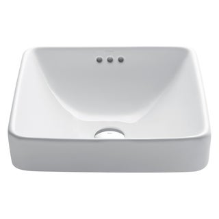 Kraus Elavo White Ceramic Square Semi-Recessed Bathroom Sink w/ Overflow