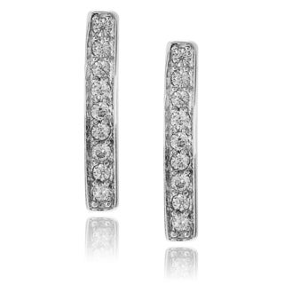 Journee Collection Sterling Silver Cubic Zirconia Bar Post Earrings