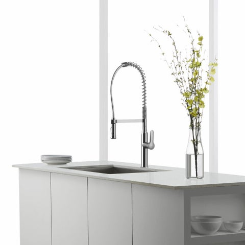 KRAUS Nola Single-Handle Commercial Style Kitchen Faucet with Dual-Function Sprayer
