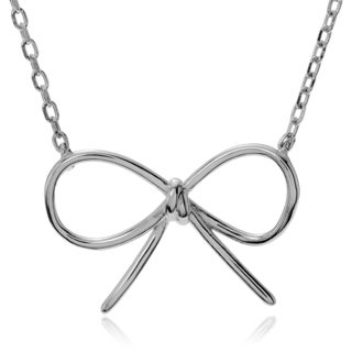 Journee Collection Sterling Silver Bow Pendant