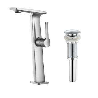 KRAUS Novus Single Hole Single-Handle Vessel Bathroom Faucet with Matching Pop-Up Drain in Chrome