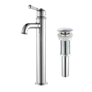 Kraus Solinder Single Lever Vessel Bathroom Faucet with Matching Pop-up Drain