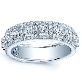 Estie G 14k White Gold 1 1/10ct TDW Diamond One-of-a-Kind Anniversary Band (H-I, VS1-VS2)