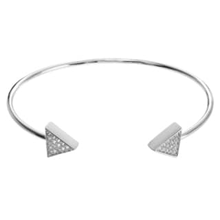 Journee Collection Women's Metal Cubic Zirconia Triangle End Cuff