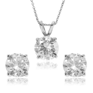 Journee Collection Women's Round Cubic Zirconia Necklace and Earring Set