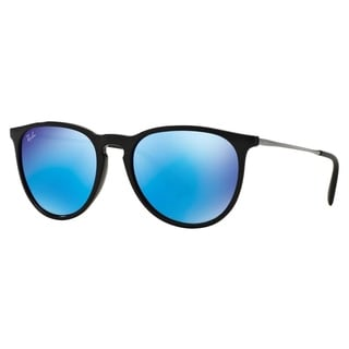 mirrored womens sunglasses d9zq  Ray-Ban Erika Color Mix Blur RB4171 601/5554 Womens Black Gunmetal Frame  Blue