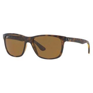Ray-Ban Men's RB4181 Tortoise Plastic Square Polarized Sunglasses