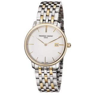 Frederique Constant Men's 'Slim Line' Silver Dial Stainless Steel Two Tone Swiss Automa - Two-tone