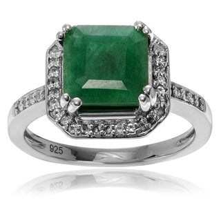 Journee Collection Sterling Silver 1 3/8 Carat Emerald Topaz Accent Square Ring