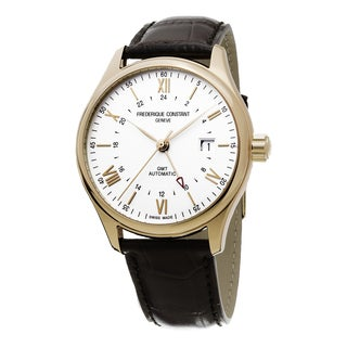 Frederique Constant Men's FC-350V5B4 'Classics Index' Silver Dial Brown Leather Strap GMT Swiss Automatic Watch