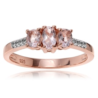 Journee Collection 14k Rose Goldplated Sterling Silver Morganite Topaz 3-stone 3/8 carat Ring