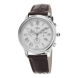 Fendi Men's F253014021 'Classico' White Dial Brown Leather Strap Leather Chronograph Swiss Quartz Watch