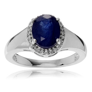 Journee Collection Sterling Silver Sapphire and Topaz Accent Halo Ring