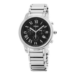 Fendi Men's F252011000 'Classico' Black Dial Stainless Steel Bracelet Chronograph Swiss Quartz Watch