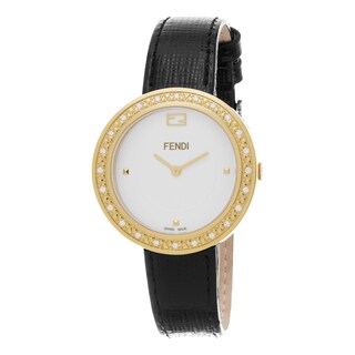 Fendi Women's F354434011B0 'My Way' White Dial Black Leather Strap Fur Adorned Goldtone Diamond Swis