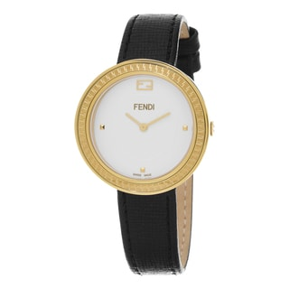 Fendi Women's F354434011 'My Way' White Dial Black Leather Strap Fur Adorned Goldtone Swiss Quartz Watch