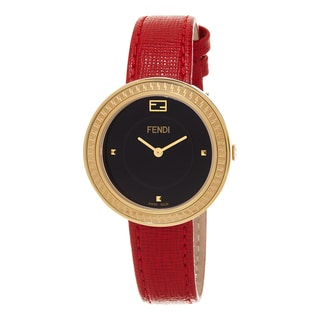 Fendi Women's F354431073 'My Way' Black Dial Red Leather Strap Fur Adorned Goldtone Swiss Quartz Watch