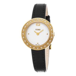 Fendi Women's F354424011B0 'My Way' White Dial Black Leather Strap Fur Adorned Goldtone Diamond Smal
