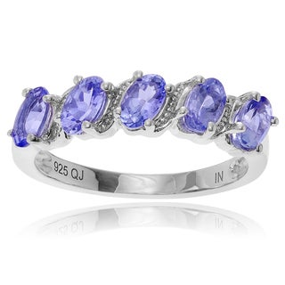 Journee Collection Sterling Silver 1/2 ct Oval Tanzanite Ring Band