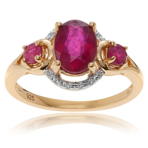 Journee Collection Goldplated Sterling Silver Ruby Topaz Accent 3-Stone Ring