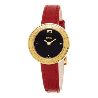 Fendi Women's F354421073 'My Way' Black Dial Red Leather Strap Fur Adorned Goldtone Small Swiss Quartz Watch