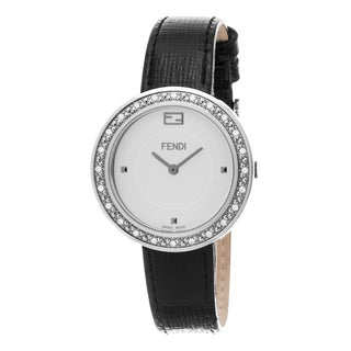 Fendi Women's F354034011B0 'My Way' White Dial Black Leather Strap Fur Adorned Diamond Swiss Quartz Watch