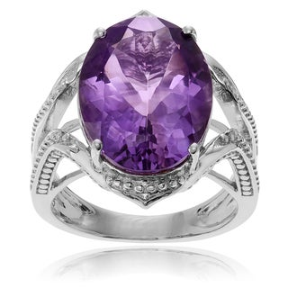 Journee Collection Sterling Silver Large Amethyst Ring