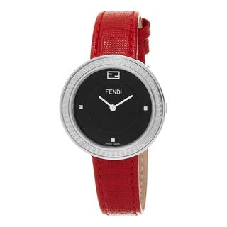 Fendi Women's F354031073 'My Way' Black Dial Red Leather Strap Fur Adorned Swiss Quartz Watch