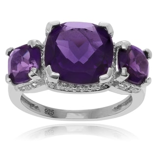 Journee Collection Sterling Silver Amethyst and Topaz Accent 3-stone Ring