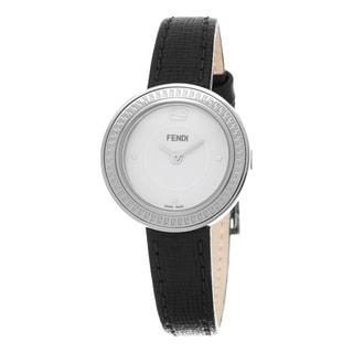 Fendi Women's F354024011 'My Way' White Dial Black Leather Strap Fur Adorned Small Swiss Quartz Watch
