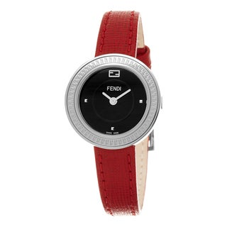 Fendi Women's F354021073 'My Way' Black Dial Red Leather Strap Fur Adorned Small Swiss Quartz Watch