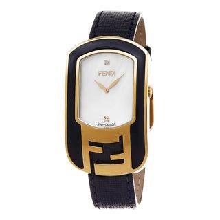 Fendi Women's F313434531D1 'Chameleon' Mother of Pearl Diamond Dial Blue Leather Strap Swiss Quartz Watch