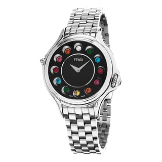 Fendi Women's F107031000T05 'CrazyCarats' Black Diamond Dial Stainless Steel Swiss Quartz Watch