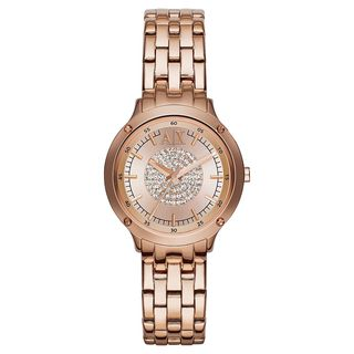 Armani Exchange Women's AX5416 Crystal Rose-Tone Stainless Steel Watch
