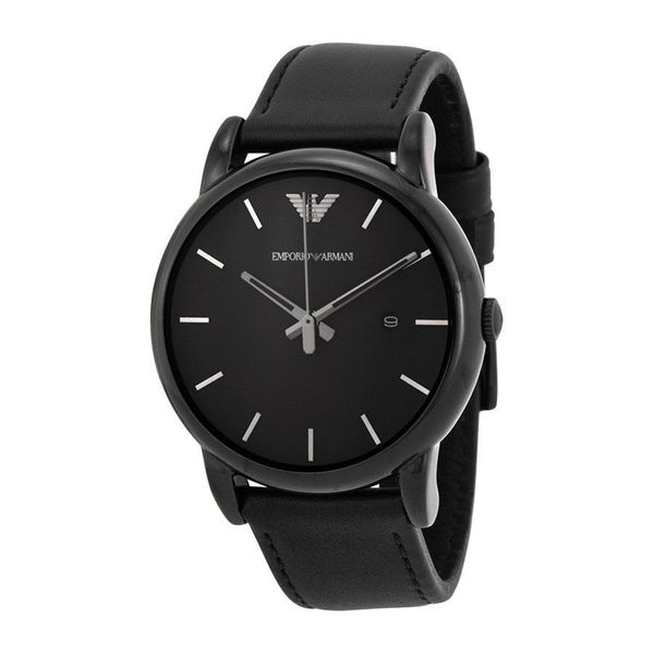 c1cd478ef09bd Shop Emporio Armani Men's AR1732 'Classic' Black Leather Watch - Free  Shipping Today - Overstock - 10482292