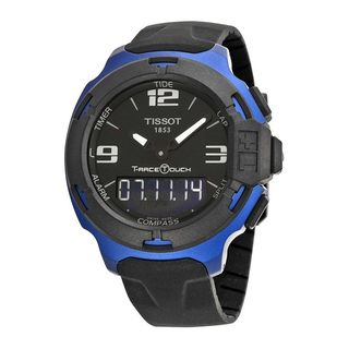 Tissot Men's T0814209705700 'T-Race' Black Rubber Watch - BLue