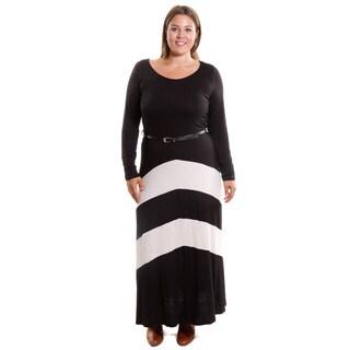 Hadari Women's Plus Size Chevron Belted Dress
