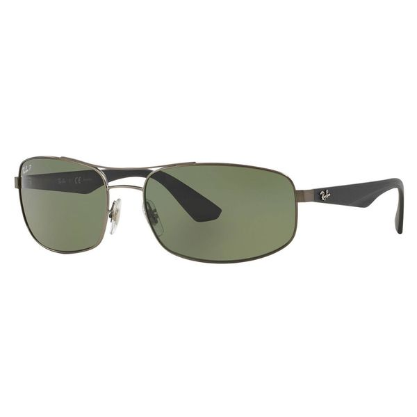 e9b89f98737 Ray-Ban Men  x27 s RB3527 Gunmetal Metal Rectangle Polarized Sunglasses