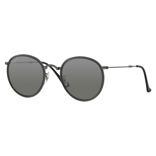 d792682438452 Shop Ray-Ban Men s RB3517 Gunmetal Metal Round Polarized Sunglasses ...