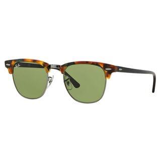 Ray-Ban Clubmaster Fleck RB3016 Unisex Black/Tortoise Frame Green Lens Sunglasses