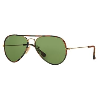 Ray-Ban Aviator RB3025JM Unisex Multicolored Frame Green Lens Sunglasses