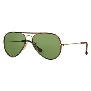 Ray-Ban Aviator RB3025JM Unisex Multicolored Frame Green Lens Sunglasses - Multi