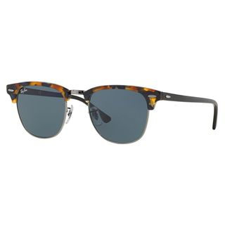 Ray-Ban Clubmaster Fleck RB3016 1158R5 Unisex Tortoise/Black Frame Blue/Grey Classic Lens Sunglasses - Blue