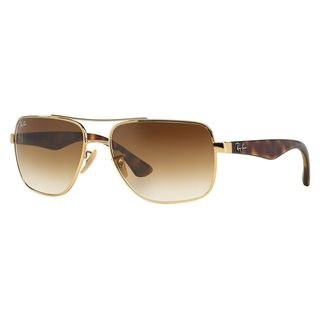 Ray-Ban Men's RB3483 Gold Metal Square Sunglasses