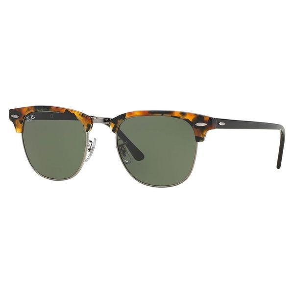 770d5654569 Ray-Ban Clubmaster Fleck RB3016 1157 Unisex Tortoise Black Frame Green  Classic Lens Sunglasses