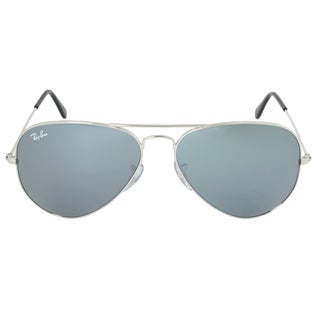 Ray Ban Aviator RB3025 W3277 58-14 Unisex Silver Frame Silver Lens Sunglasses