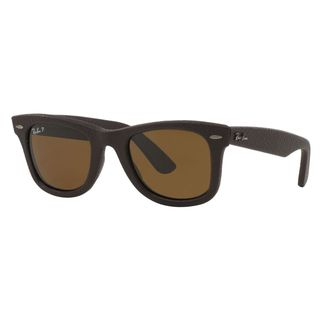 Ray-Ban Wayfarer RB2140QM Unisex Brown Frame Brown Polarized Lens Sunglasses