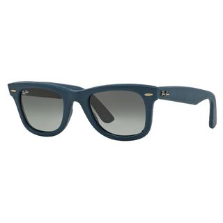 Ray-Ban Wayfarer Leather RB2140QM Unisex Blue Frame Grey Lens Sunglasses